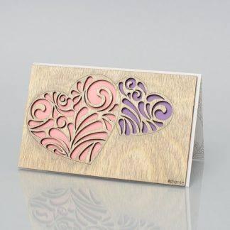 Деревянная открытка Двойное сердце