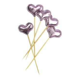 Шпажки для канапе/капкейков Сердце розовое
