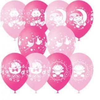 """Воздушные шарики """"С рождением, Девочка"""" 10 шт. 30 см"""
