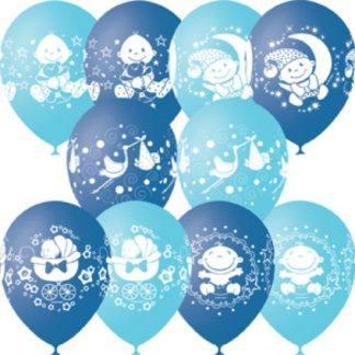 """Воздушные шарики """"С Днем Рождения Мальчик"""" 10 шт. 30 см"""