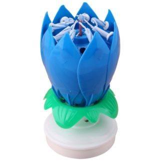 Цветок-лилия крутящаяся, на торт с фейерверком, синяя