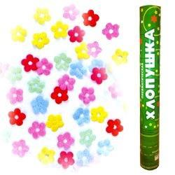 Пневмохлопушка Метализированные цветы, 40см