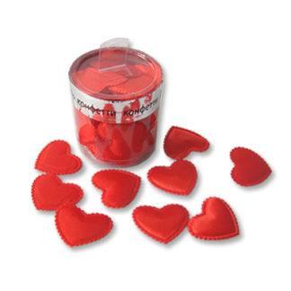 Конфетти Сердца3D ткань красн 3см 30шт