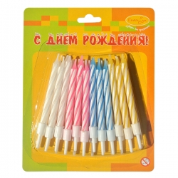 Свечи-мини 2-х цветные 24шт с держателями 6см