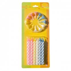 Свечи Большие 2-х цветные 12шт с держателями 8см