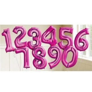 Фольгированный шар Цифра розовая 0-9, 102 см