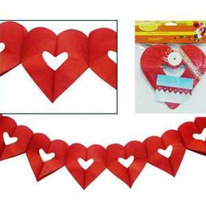 Бумажная гирлянда красная Сердечки 18х17см 4м