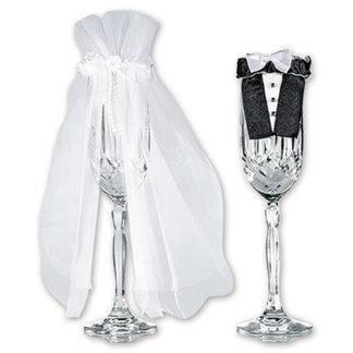 Украшение для бокалов свадебное