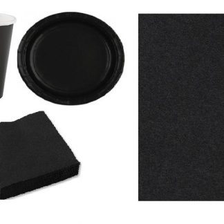 Чёрный набор праздничной посуды на 8 персон