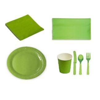Набор зелёной посуды с настольными приборами