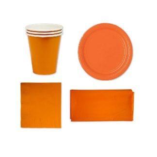 Набор однотонной посуды оранжевый, на 12 человек