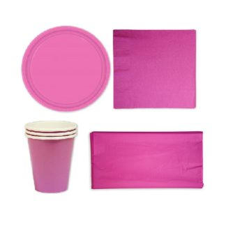 Розовый набор посуды на 8 человек