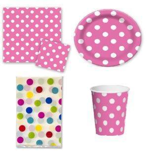 Набор праздничной посуды горошек розовый