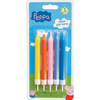 Свечи разноцветные, Свинка Пеппа, 5шт с держателями, 7см