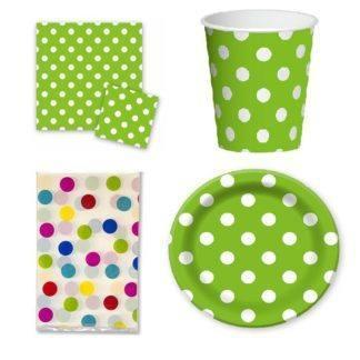 Набор праздничной посуды горошек зелёный