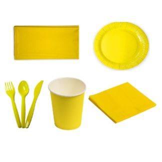 Набор однотонной посуды жёлтый