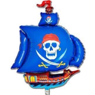 Фольгированный шар Пиратский корабль голубой 102см
