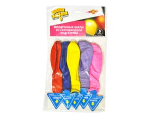 Набор шаров с подсветкой цветн 10шт