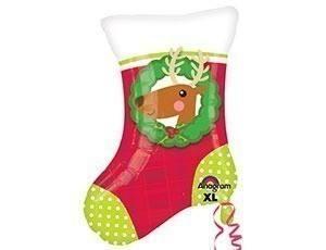 Фольгированный шар Носок рождество, 45см
