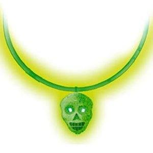 Ожерелье с кулоном Череп светящийся зеленый
