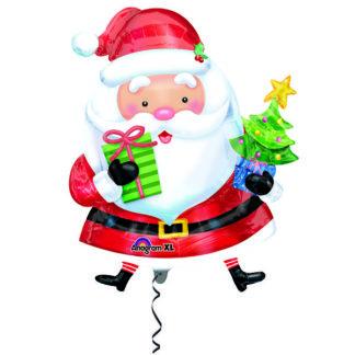 Фольгированный шар Фигура Новый Год Санта с ёлочкой 71см
