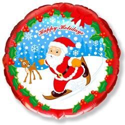 Фольгированный шар Круг, Скользящий Санта, 46 см