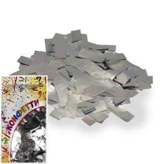 Конфетти фольгированное Прямоугольники серебро 300гр