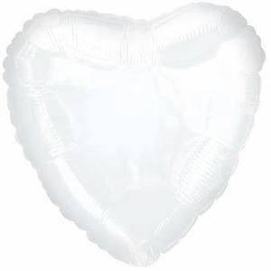 Шарик из фольги сердце белое, 46см
