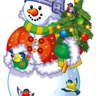 Баннер Снеговик с елочкой, 41см