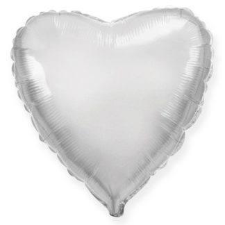 Шарик из фольги сердце серебро, 46см