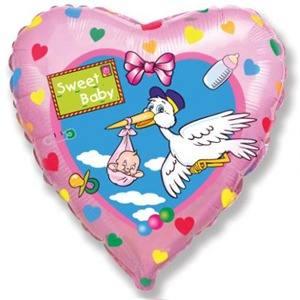 Шарик из фольги сердце, Аист Розовый, 46см