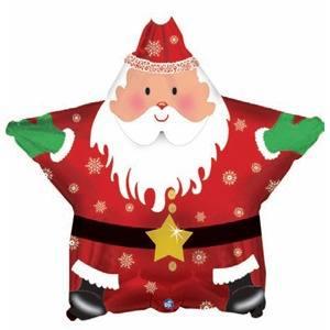 Фольгированный шар Звезда, Санта: С Новым годом, 46 см