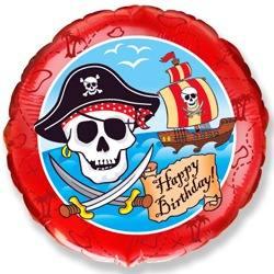 Шарик из фольги Круг, С Днем рождения (пират), 46см