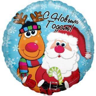 Фольгированный шар Круг, Дед Мороз и Олень, 46 см