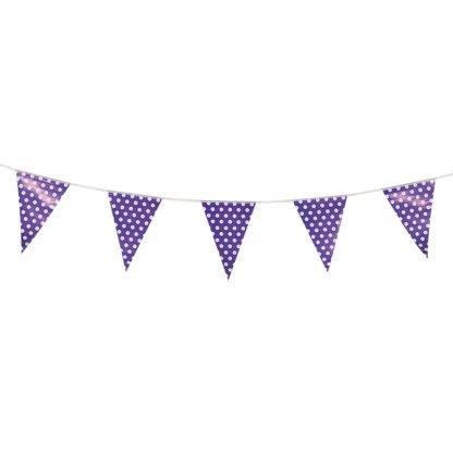 Гирлянда флажки Точки фиолетовые, 250см