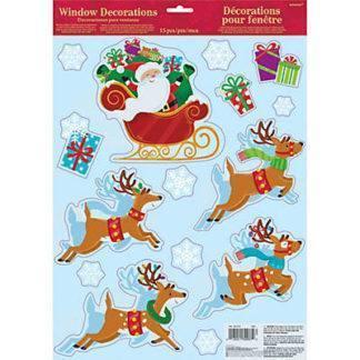 Наклейка н/окно Санта с оленями 15шт