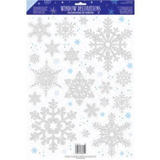Наклейки на окно Снежинка серебро 19шт
