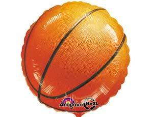 Шарик из фольги Круг, Баскетбольный мяч, 46см