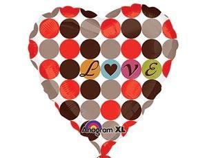Шарик из фольги Сердце, Любовный узор, 46см