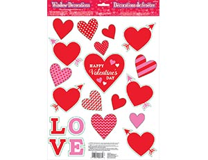 Наклейки на окно Сердца Валентин 20шт