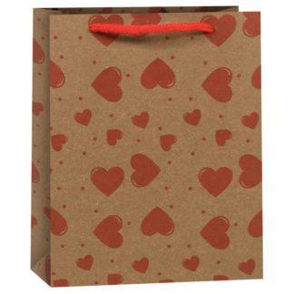 Пакет подарочный Сердца, 11,5*6*14,5 см в асс