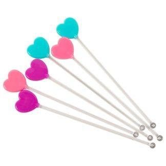 Палочки для коктейлей Сердца 6шт