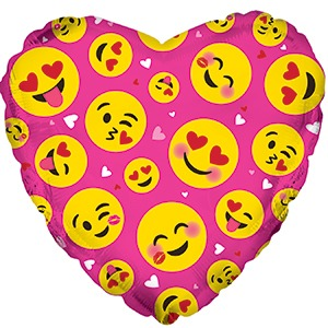 Фольгированный шар, сердце, Влюбленные смайлы, 46см