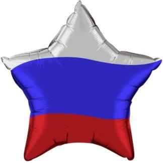 Фольгированный шар, звезда, Триколор, 46см