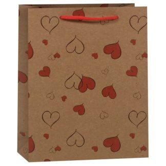 Пакет подарочный Сердечки, 19*8*24,5 см в асс