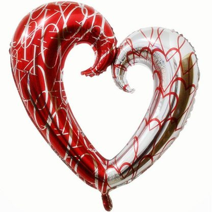 Фольгированный фигурный шар Сердце красный-серебро, 109см