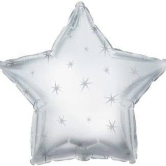 Шарик из фольги звезда Платиновое серебро с искрами, 46см