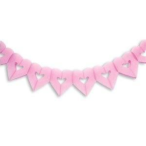 Бумажная гирлянда розовая Сердечки 18х17см 4м