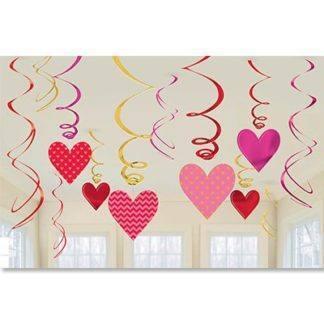 Спираль Сердца красные и розовые, 12 шт.