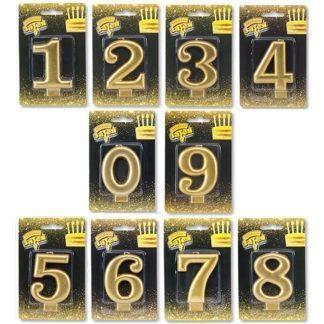 Свеча -цифра Золотая 8см (0-9)